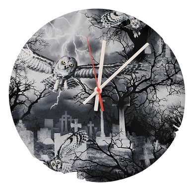 Handmade Gothic Owl and Graveyard Fabric Wall Clock
