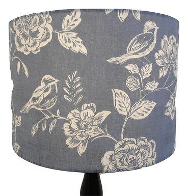 Denim Blue Bird Garden Handmade Lampshade, Drum, Hexagon or Empire Shapes
