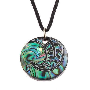 Inlaid Paua Shell Maori Koru Fern  Necklace