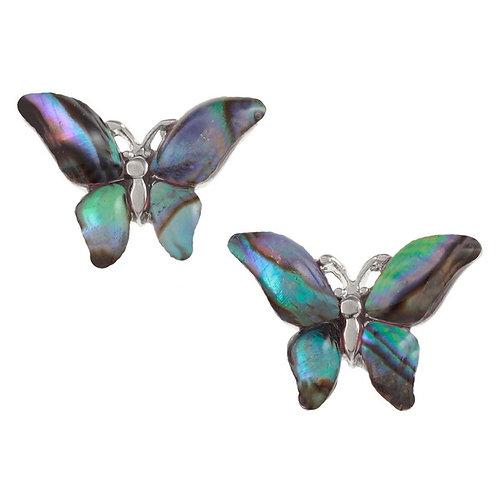 Inlaid Paua Shell Butterfly Stud Earrings