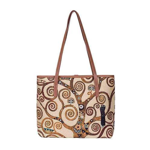 Signare Gustav Klimt Tree of Life Shoulder Tote Bag