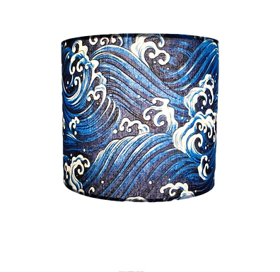 Japanese Cotton Waves Design With Gold Outlines Handmade Lampshade