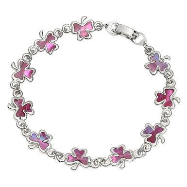 Inlaid Paua Shell Pink Shamrock Bracelet
