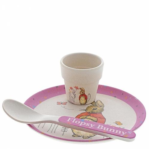 Beatrix Potter Flopsy Bunny Bamboo Egg Cup Dinner Set