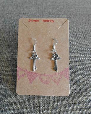 Key Earrings With Silver Hooks