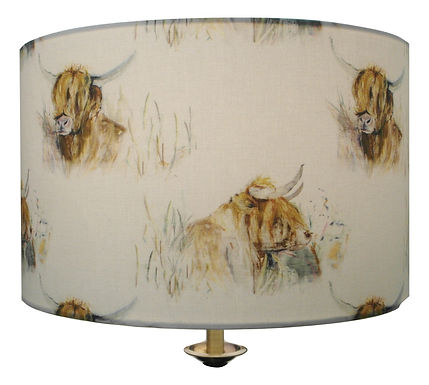 Voyage Maison Highland Coo/Cow Handmade Drum Lampshade, Available in two sizes