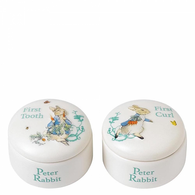 Beatrix Potter, Peter Rabbit First Tooth and Curl Ceramic Pots, A25866