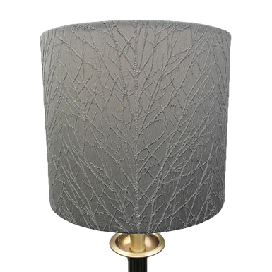Silver Embroidered Tree Handmade Drum Lampshade, Two Sizes Available
