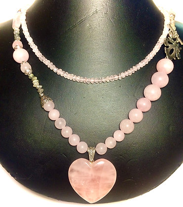 Rose Quartz and Labradorite heart necklace with Sterling Silver leaf clasp