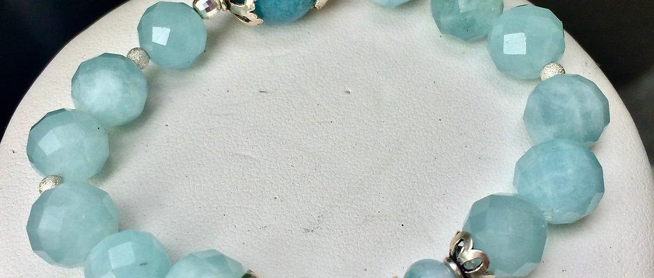 Natural Aquamarine & Sterling Silver Bracelet/Calming Communication