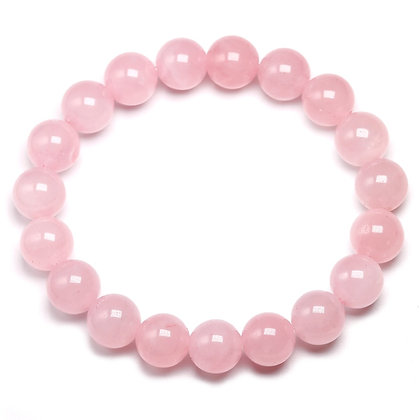 Natural Rose Powder Crystal Quartz Stone Stretch Bracelet | Intent: self-love an