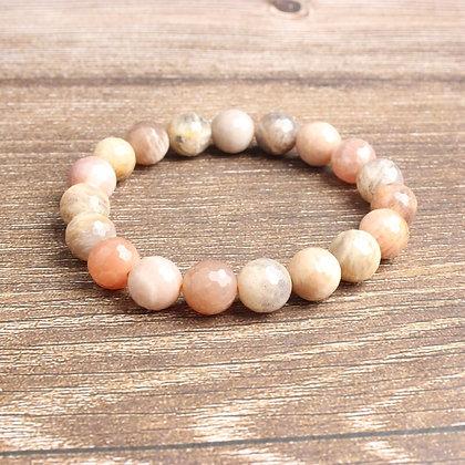 Natural Sunstone Diamond Cut beads Bracelet/Good Fortune, Natural Sunstone Stone