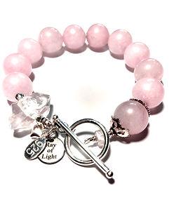 rose quartz and raw herkiner diamons, sterlings silver bracelet.JPG