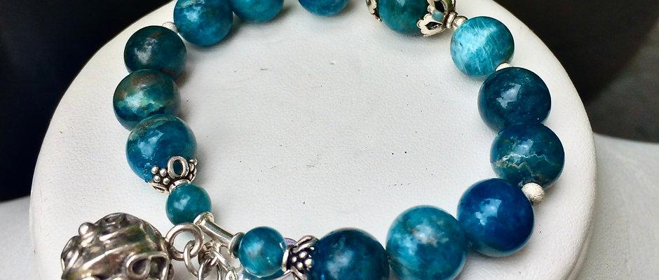 Natural Apatite & Sterling Silver   Stone of Manifestation, Intention Bracelet