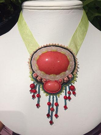red coral, rose quartz, swarowski crystal necklace.JPG