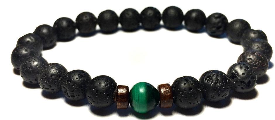 Ray of Light Jewels - Lava Rock & Malachite Bracelet - 8mm Natural Stone Bead