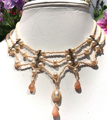 moonstone,sunstone, pearls sterling silver necklace.JPG