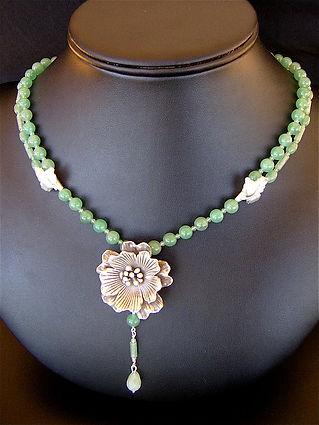 aventurine,silver flover necklace.jpg
