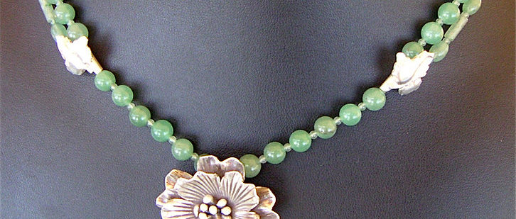 Hand made sterling silver flower from Hill tribe, aventurine necklace