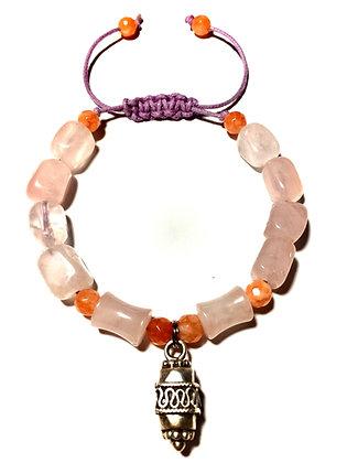 Natural Rose Quartz & Orange Chalcedony Adjustable Bracelet