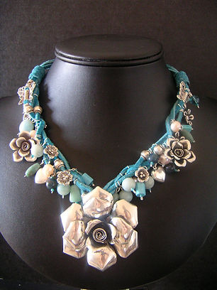 Hand made silver beads, swarovski crystal, turquoise, amazonite, pearls, aventurine, leath