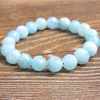 Natural Aquamarine Diamond Cut beads Bracelet/Calming Communication, Natural Aqu