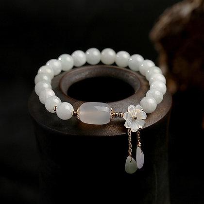 Natural Jade & Emerald Agate Beads Bracelet Adjustable   Water Drop Shell Flower