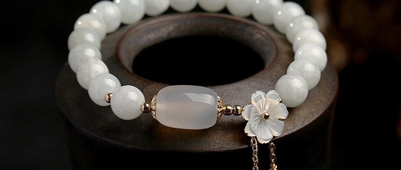 Natural Jade & Emerald Agate Beads Bracelet Adjustable | Water Drop Shell Flower