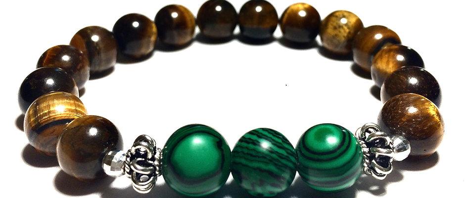Ray of Light Jewels - Tigereye & Malachite Bracelet - 10mm