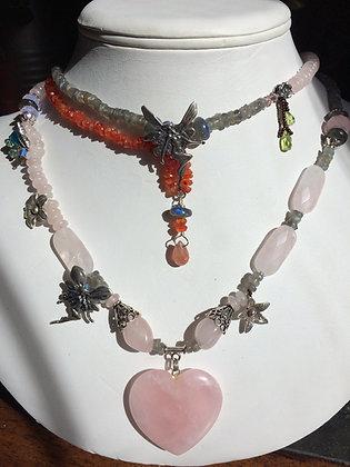 ROSE QUARTZ CRYSTAL/rose quartz heart pendant/ sterling silver beats and fairy