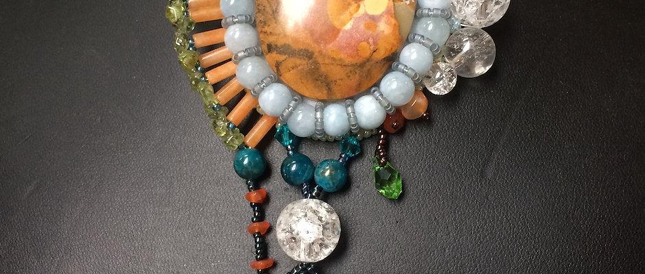 EAGLE EYE AGATE/ crystal quartz, apatite, aquamarine pendant