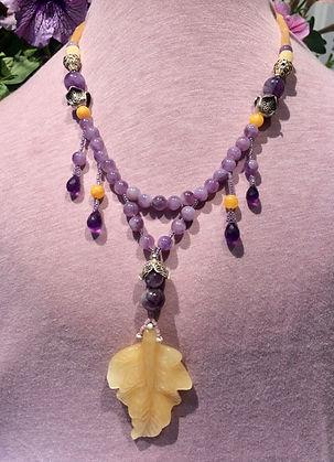 amethystnecklace, sterling silver beads aragonite necklace.JPG