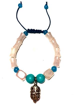 Natural Rose Quartz, Jade & Turquoise, Adjustable Bracelet