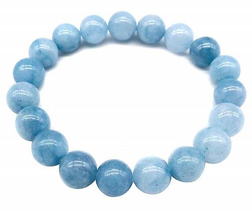 Natural Aquamarine Bracelet, Calming Communication 12mm