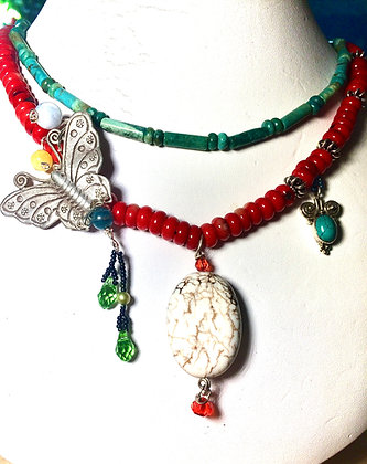 Butterfly necklace, turquoise beads, sterling silver beads