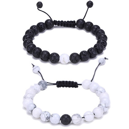 Energy 2 pcs Healing Round Black Lava & White Howlite Bracelet | Matching Couple