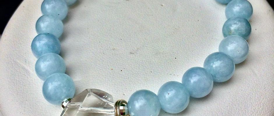 Natural Aquamarine & Herkimer diamond crystal Bracelet/Calming Communication
