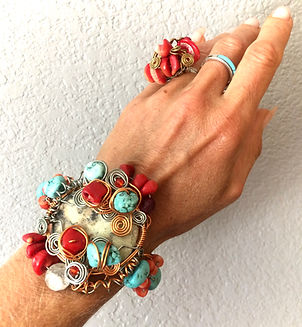 red coral,turqoise,crystal copper bracelet.JPG