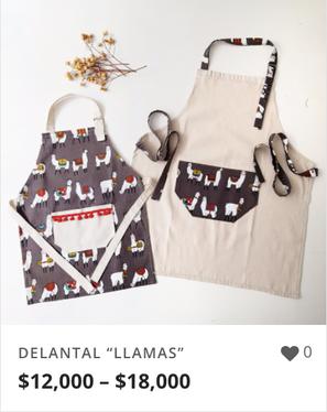 """DELANTAL """"LLAMAS"""""""