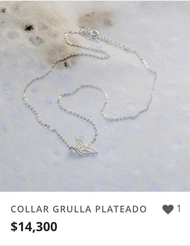 COLLAR GRULLA PLATEADO