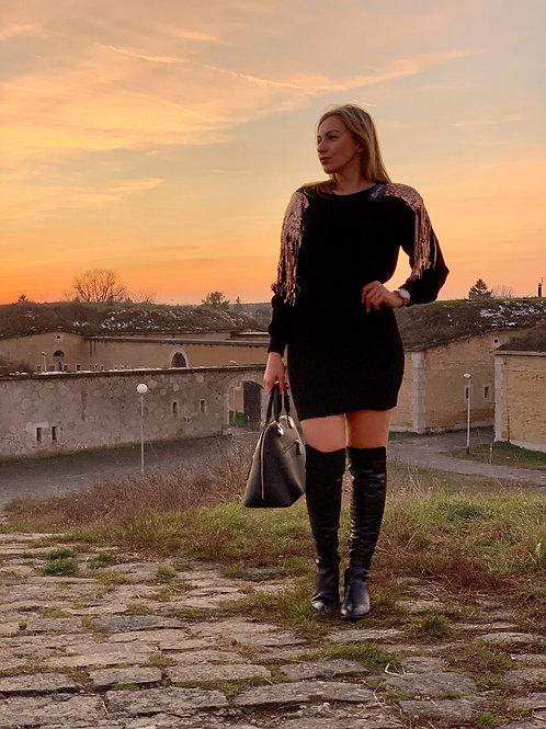 Šaty pletené s flitrami - Seqyuins black