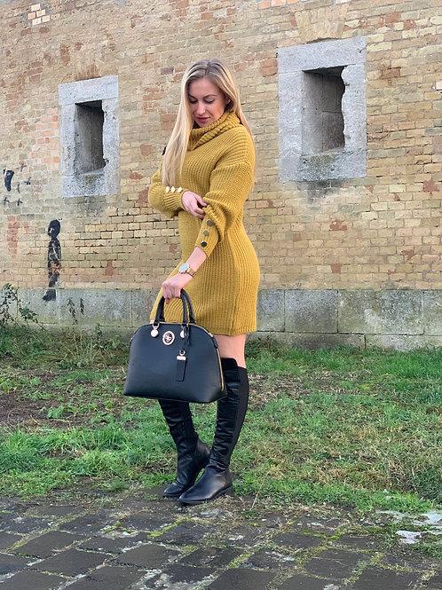 Pletené rolákové šaty - Tulip yellow
