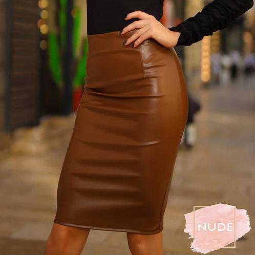 Koženková hnedá sukňa - Caramel
