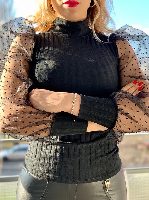 Blúzka so stojačikom a tylovými rukávmi - Dots