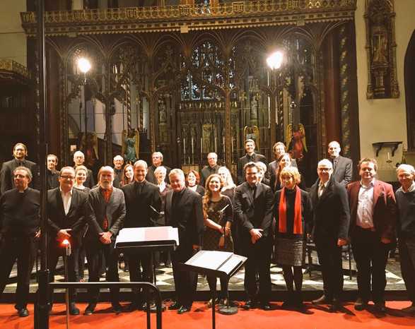 At St. Paul's Knightbridge with the BBC Singers after a performance of 'Psalm No. 1'