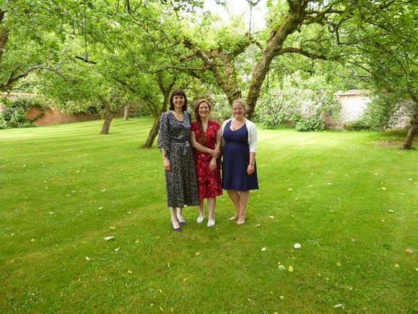 With Clare McCaldin and Libby Burgess after a performance of 'Two Shakespeare Songs' for the Finzi Friends, Ashmansworth, July 2016