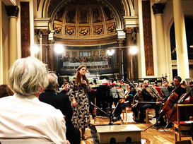 Telling the audience about 'Beyond the Road Begun' before the Covent Garden Chamber Orchestra's performance at St. Peter's Notting Hill (photo © Fenella Humphreys)