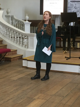 """Giving an introduction to Jess Dandy and Dylan Perez's performance of """"Beowulf"""" at the Oxford Lieder Festival, 2019"""