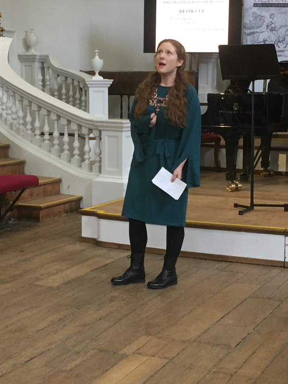 "Giving an introduction to Jess Dandy and Dylan Perez's performance of ""Beowulf"" at the Oxford Lieder Festival, 2019"