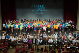 Group photo time during the Duchess of Cornwall's visit to the LCO's rehearsal of 'I am You, Brave and Strong'  (photo © Mariona Vilaros)